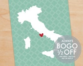 Map of Italy, Country Map art, Country wall art,  heart map print, heart map art, map print, map wall decor, map decor, map art, heart map