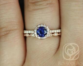 Kubian 0.63cts & Ultra Petite Leah 14k Rose Gold Round Blue Sapphire and Diamonds WITHOUT Milgrain Wedding Set