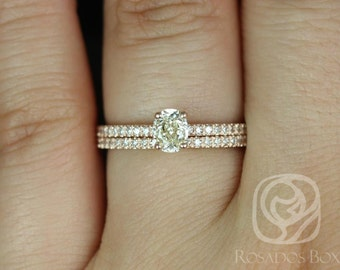 Rosados Box Conflict Free Darcy 0.45cts 14kt Rose Gold Oval Diamond Classic Wedding Set