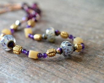 Purple lampwork glass necklace Yellow jade amethyst necklace Gold bead necklace Semi precious stone necklace Office fashion jewelry