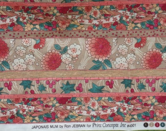 """Cotton Quilting Fabric- Japonais Mum by Ron Jebran, Woven Cotton Fabric - Floral Stripe in Coral, Green & Tan - 30"""" x 44"""" - OOP"""
