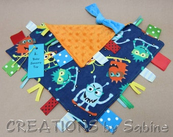 Baby Sensory Toy Monsters Blankie Tag Blanket Security Ribbon Lovie Skating Skateboard Shades Fun Shower Gift Idea READY TO SHIP (267)