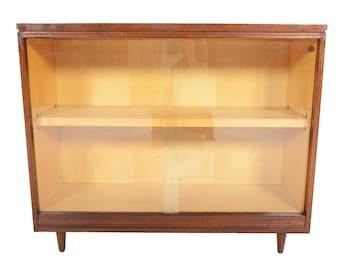 Mid Century Modern Rosewood + Birch Sliding Glass Door Bookcase #2