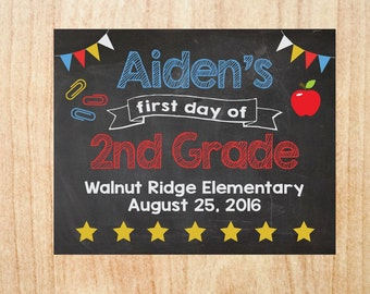 First Day of School Personalized Sign PRINTABLE 1st day chalkboard poster
