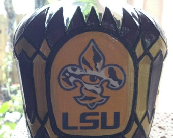 Louisiana State LSU Football Crown Royal bottle Hand Painted upcycled glass OOAK