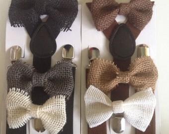 Brown Burlap Bow Tie Suspenders  Mens Rustic Wedding Accessories Groomsmen Ring Bearer Outfit Chocolate Brown Bowtie Baby Toddler Braces Boy