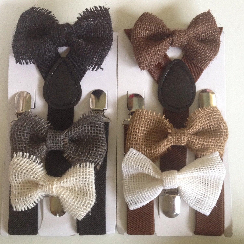 toile de jute marron noeud papillon bretelles mens rustique. Black Bedroom Furniture Sets. Home Design Ideas