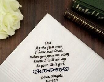 Wedding Handkerchief; father of the bride gift; wedding hanky; father of the groom gift: embroidered handkerchief; mens handkerchief; hankie