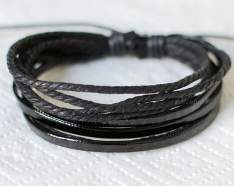 831 Black leather bracelet Leather bands bracelet Ropes bracelet Men bracelet Women bracelet Fashion leather jewelry For men and women