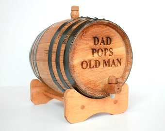 Father's Day Gift Engraved Whiskey Barrel for Dads - Gifts for Father of the Groom & Bride ~ 3 Sizes Available