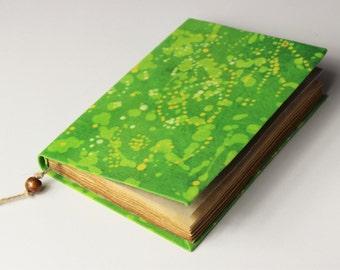 Green Journal, diary, notebook, old paper, batik fabric, blank book, travel journal