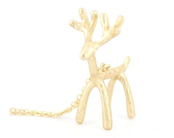 Special Cool Gold-tone 3D Deer Pendant NECKLACE,Finish Selected,A15
