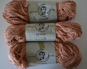Three skeins of cotton yarn for knitting or crochet