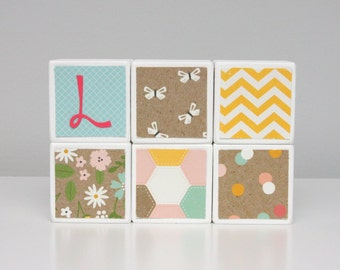 Baby Blocks Personalized - SET OF 6 - Girl - Flowers Butterflies Garden Turquoise Yellow Pink