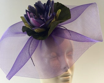 Purple Fascinator- Waterlily Headband- Flower Fascinator- Purple Headdress- Waterlily Headpiece- Derby Days -Wedding- Bridal- Horse Derby