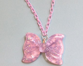 Magical Pastel Bow Necklace with Holographic Stars