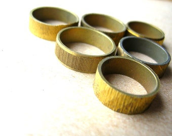 6 Unfinished Brass Rings - Textured Brass Rings - Brass Ring Lot - Raw Brass Rings - Brass Band Lot - Vintage Ring Lot