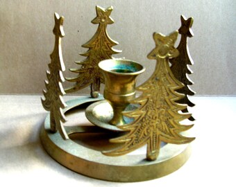 Vintage Christmas Tree Candle Holder  - Vintage Brass Candle Holders - Christmas Candle Holder