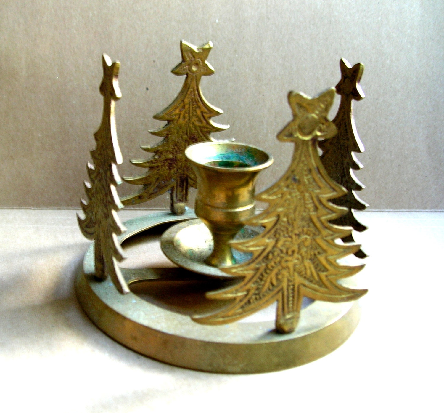 Vintage christmas tree candle holder vintage brass candle for Christmas candle displays