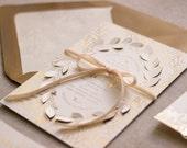 Colette Invite - Floral Foil Stamp Die Cut Raised Petals Wedding Invitation Sample Set