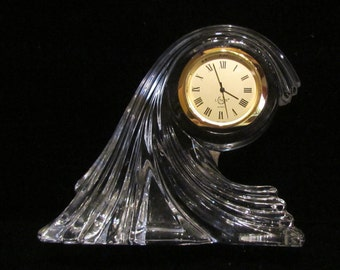 Vintage 1980s Lenox Crystal Waterscape Clock Mantle Clock Desktop Clock Made in USA Working Clock Excellent to Near Mint Condition