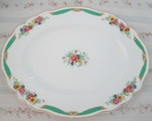 vintage english china old staffordshire johnson brothers platter shabby chic wedding bridal shower platter green pink yellow country french
