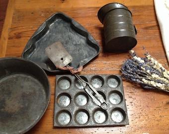 Vintage lot of kitchen tin ware rustic cupcake tin, vintage rustic cake tin, rustic tin spatula, rustic pourer, vintage rustic bowl /pan