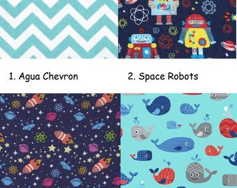 Day Care Cot Sheet - 100% Cotton Flannel - Boys/Girls - Agua Chevron, Space Robots, Rocket In Space, Happy Whales