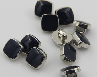 6 pcs 0.39 inch Small Black Square Plastic Shank Buttons for Shirts