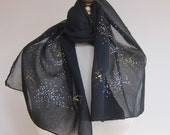 Vintage chiffon scarf, 1950s black chiffon, oblong scarf, long black scarf, hand rolled, gold sprinkles, mid century fashion