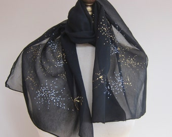 Vintage chiffon scarf, 1950s black chiffon oblong scarf, long black scarf, hand rolled, gold sprinkles, mid century fashion