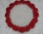 Crocheted Lid Jar Bottle Opener Red Scalloped Kitchen Helper