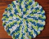 Crocheted Dishcloth Round Cotton Dish Cloth Turquoise Green White Dish Rag Shell Edging Cloth