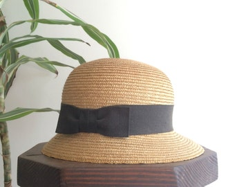 Natural straw hat made in italy | vintage 50s size 22