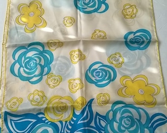 Vera Turquoise Yellow Floral Silk Scarf 1970s