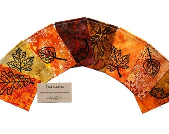 Fall Leaves (Made with original hand carved block prints) (small)
