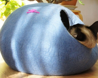 Cat bed, house, cave. Natural felted wool. Color sky blue. Size M. Made by kivikis.