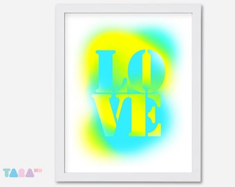 Fluor blue and yellow poster, Love Graffiti Spray, Typography design, Printable Wall Art, Digital Print, children Decor, Instant Download