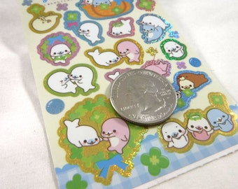 Kawaii Japan Sticker Sheet Assort: San-x Holographic Mamegoma Clover Party Spring Fresh Fun Lucky Four Leaf Friends Costume White Seal R