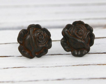 Rusty Chocolate Brown Rose post earrings