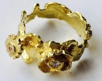 Gold 18 Karat Diamant-Ring Garland