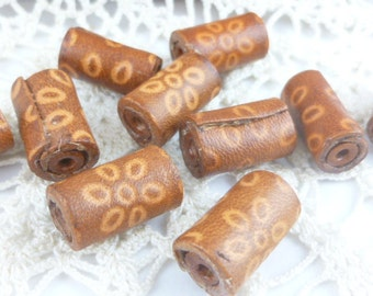 Tan and Brown Leather Tube Flower Beads (2)