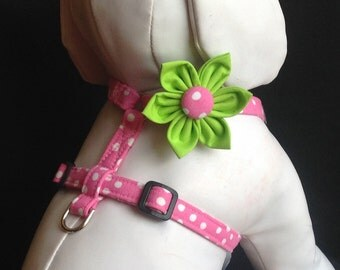 Adjustable Dog Harness - Pink & White Polka Dot - Available With Or Without Flower - Size XS, S. M, L, XL