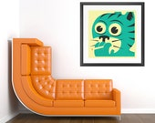 SMOKING CAT, Giclée Fine Art Print, Retro Pop-Surrealism by Jazzberry blue