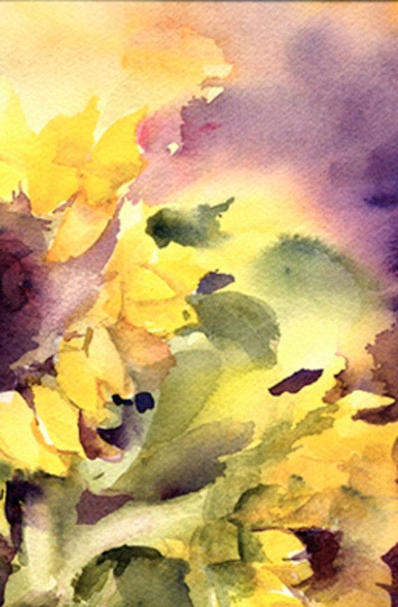 Sunflowers Watercolor Painting Print Floral Watercolor Print