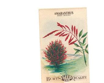 vintage paper, antique ephemera, Amaranthus seed packet, Burt's, red, 1915