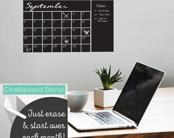 Calendar Chalkboard Month Planner - Chalkboard Vinyl Decal Calendar Day Month Planner with Notes Section For Kitchens, Living Rooms