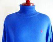 vintage 80's 90's Polo by Ralph Lauren solid royal blue cotton jersey turtleneck sweater red pony logo unisex pullover jumper extra large xl