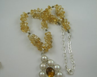 FREE shipping in the US - extra large pearl - citrine necklace - double strand citrine & sterling silver - handmade jewelry - FREE gift box