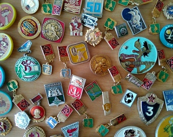 Set of vintage soviet USSR pins badges in bad-acceptable condition